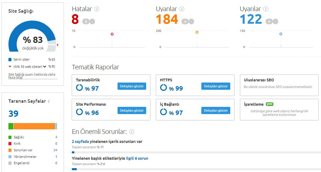 Site Denetimi SEMRUSH